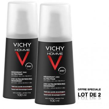 VICHY Homme Déodorant 24H Ultra-Frais Spray 2x100ml