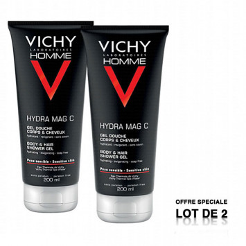 VICHY Homme Hydra Mag C Gel Douche Corps et Cheveux 2x200ml