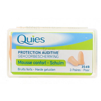 QUIES PROTECTION AUDITIVE MOUSSE CHAIRE 3 PAIRES
