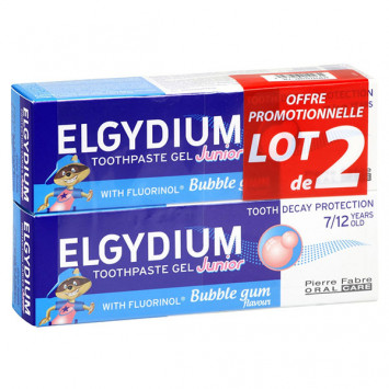 ELGYDIUM Junior Gel Dentifrice Goût Bubble Gum 7-12 ans 2x50ml