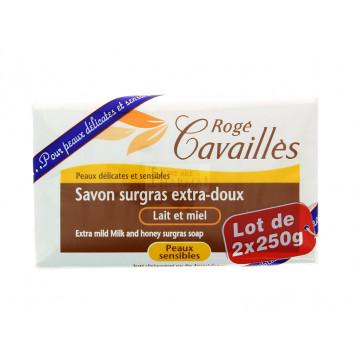 SAVON SURGRAS EXTRA-DOUX LAIT ET MIEL ROGE CAVAILLES 2x250G