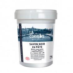 LA CORVETTE Savon Noir Écologique à l'Huile de Lin en Pâte 1kg