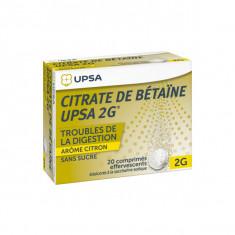 CITRATE DE BETAINE CITRON UPSA 2 g SANS SUCRE, comprimé effervescent édulcoré à la saccharine sodique – 20 comprimés