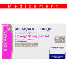 BORAX/ACIDE BORIQUE BIOGARAN 12 mg/18 mg/ml, solution pour lavage ophtalmique en récipient unidose