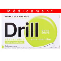 DRILL SANS SUCRE ANIS MENTHE, pastille édulcorée à l'isomalt et à l'acésulfame de potassium – 24 pastilles