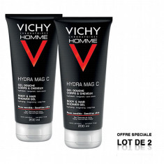 VICHY Homme Hydra Mag C Gel Douche Corps et Cheveux 2x200ml