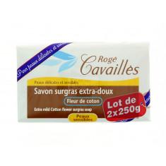 SAVON SURGRAS EXTRA-DOUX FLEUR DE COTON ROGE CAVAILLES 2x250G