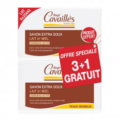 ROGE CAVAILLES Savon Surgras Extra-Doux Lait et Miel 3x250g +1 OFFERT