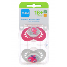 SUCETTES MAM ANATOMIQUES SILICONE 18 MOIS+ x 2